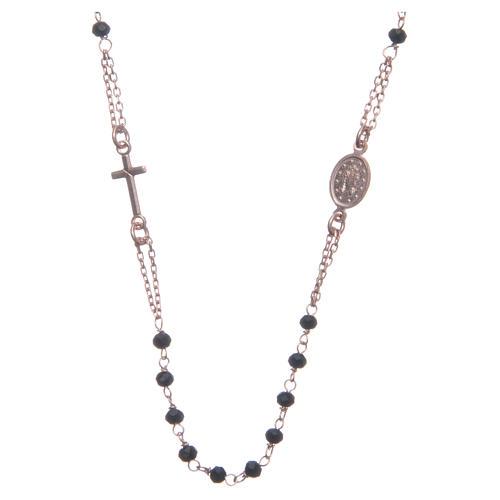 Rosario girocollo colore rosé e nero argento 925 2