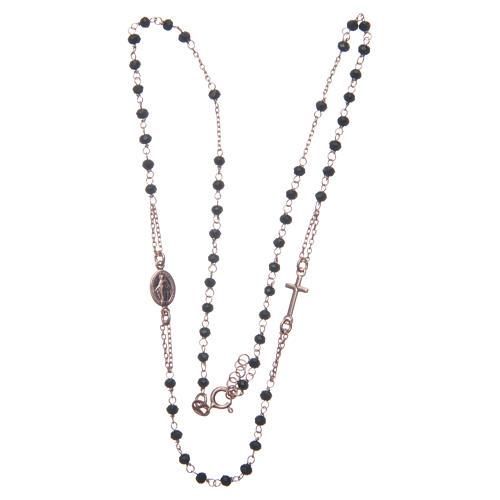 Rosario girocollo colore rosé e nero argento 925 3