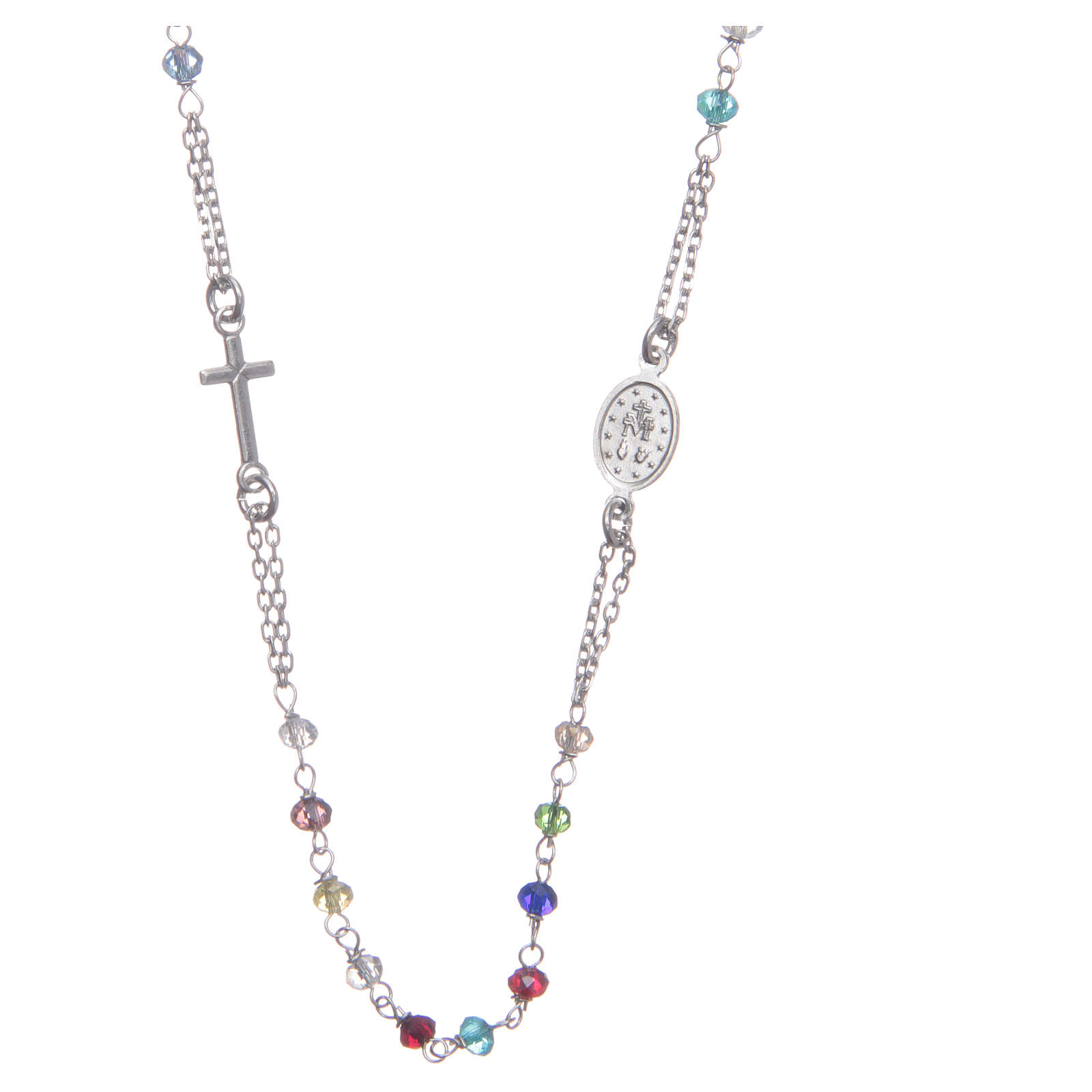 Classic rosary choker multicoloured 925 sterling silver 4