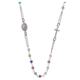 Classic rosary choker multicoloured 925 sterling silver s1