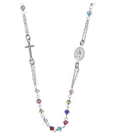 Classic rosary choker multicoloured 925 sterling silver s2