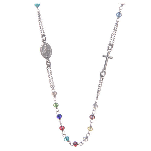 Classic rosary choker multicoloured 925 sterling silver 1