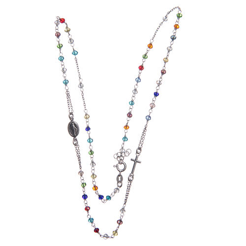 Classic rosary choker multicoloured 925 sterling silver 3