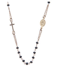 Classic rosary choker gold and black 925 sterling silver s2