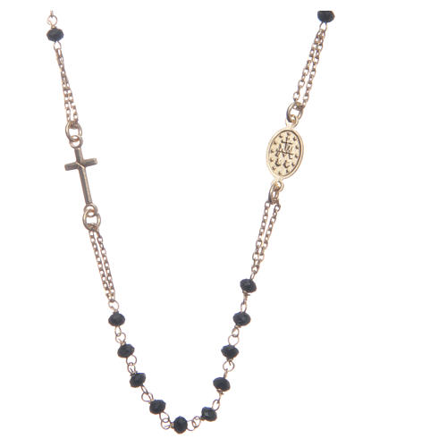 Classic rosary choker gold and black 925 sterling silver 2