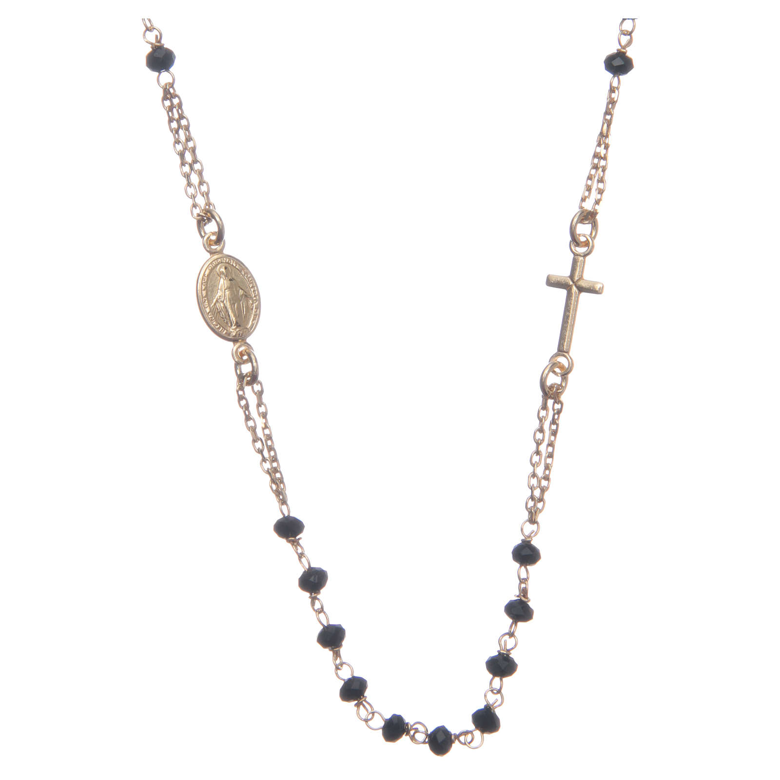 Classic rosary choker gold and black 925 sterling silver 4