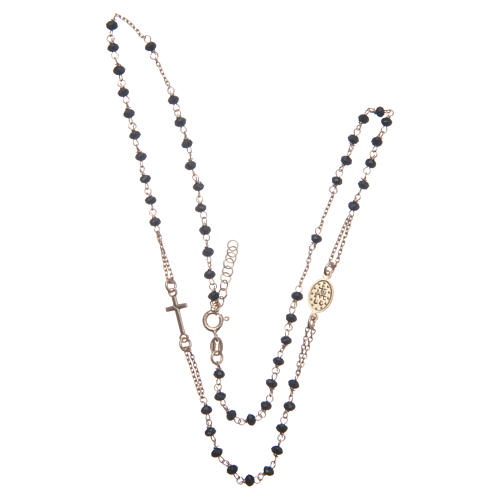 Classic rosary choker gold and black 925 sterling silver 3