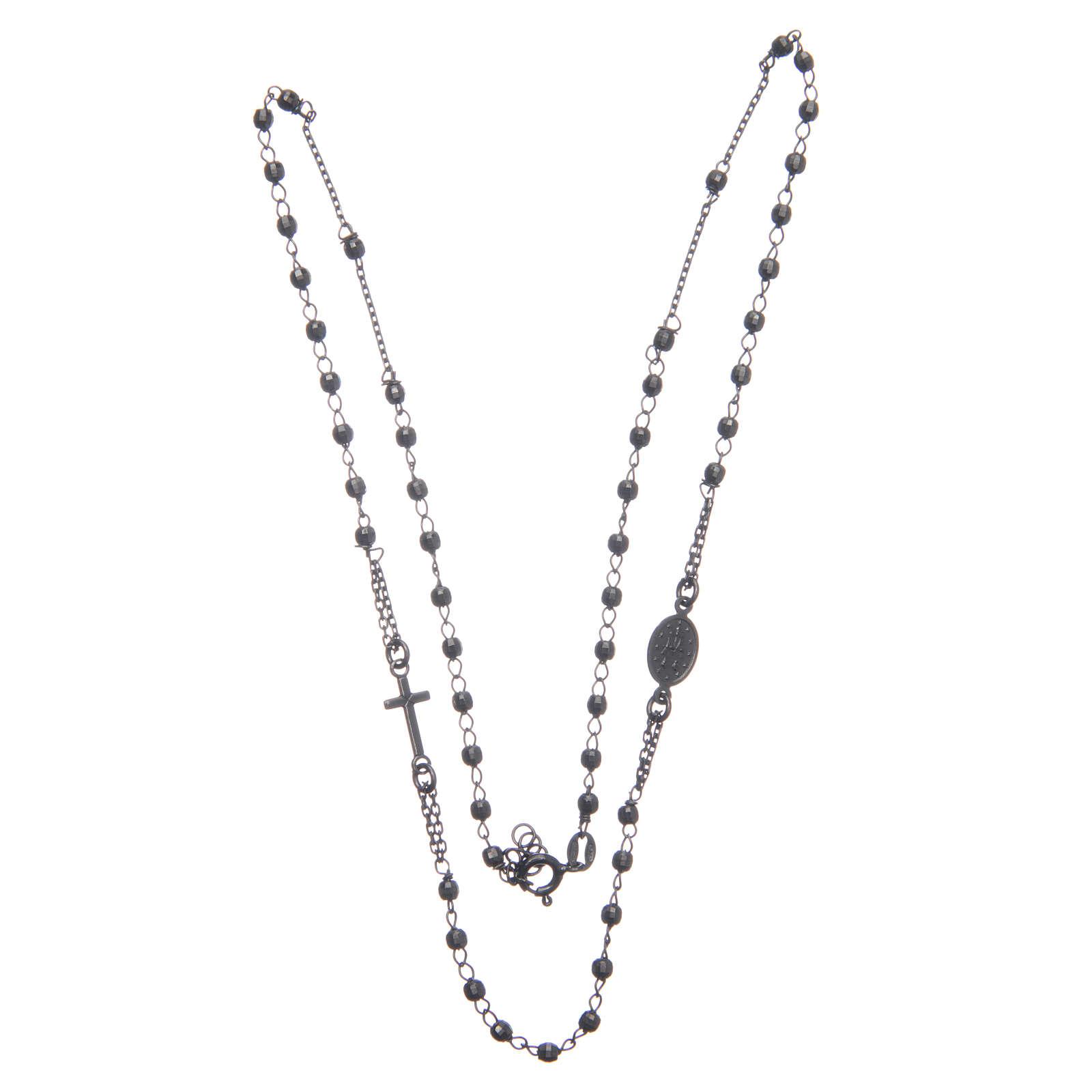 Rosary choker smoky black 925 sterling silver 4
