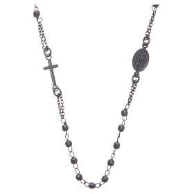 Rosary choker smoky black 925 sterling silver s2