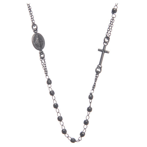 Rosary choker smoky black 925 sterling silver 1