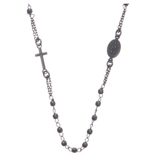 Rosary choker smoky black 925 sterling silver 2