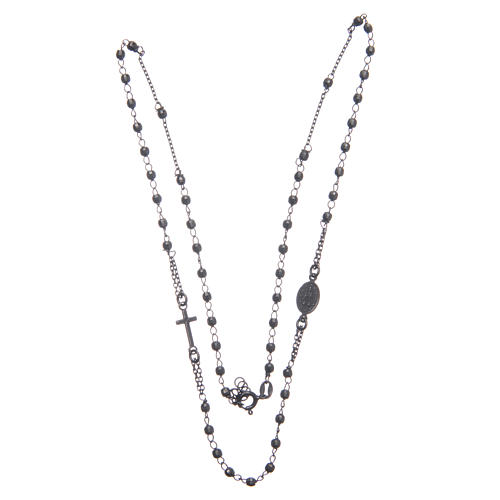 Rosary choker smoky black 925 sterling silver 3