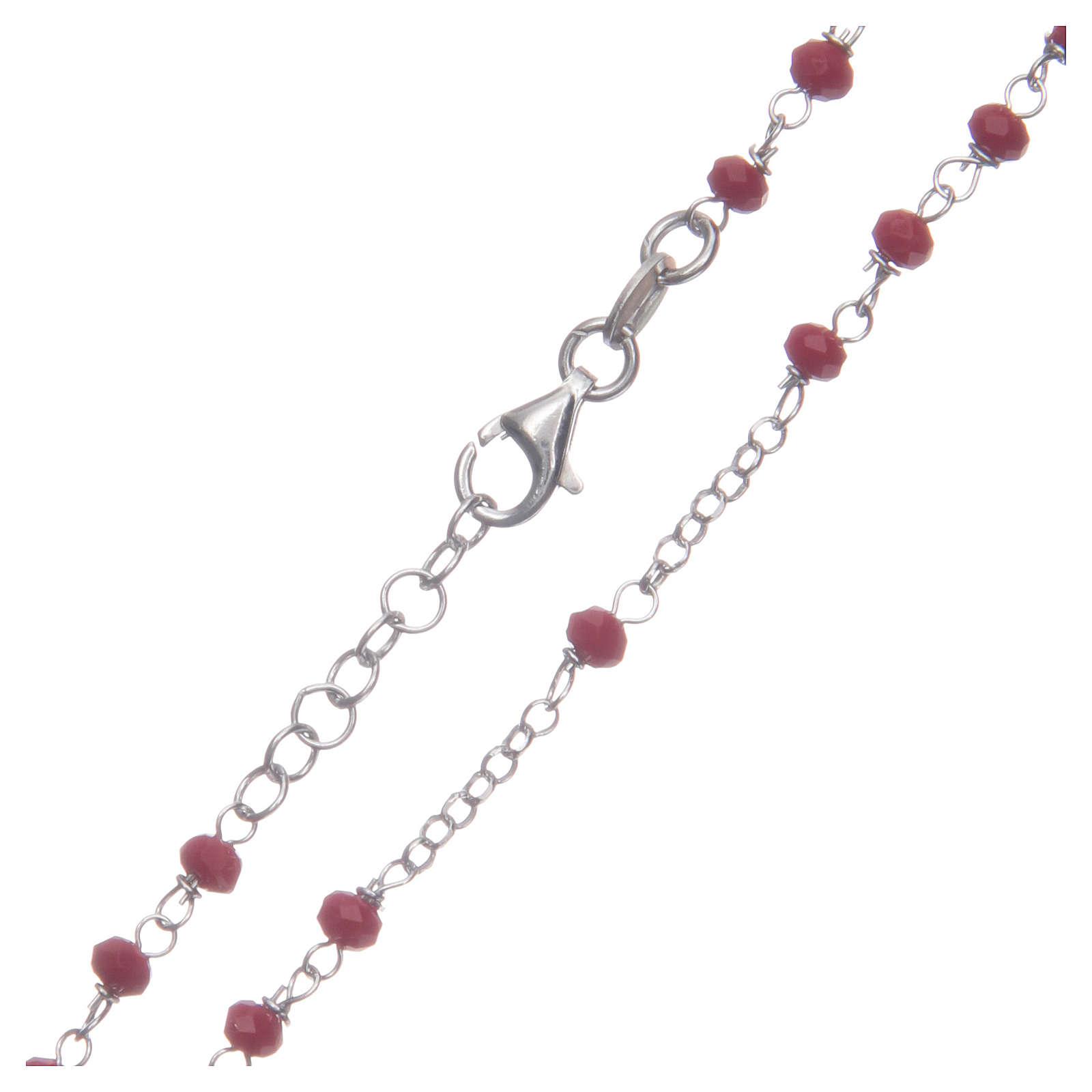 Rosario classico colore rosso argento 925 4