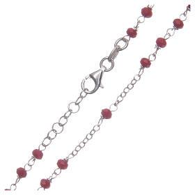 Rosario classico colore rosso argento 925 s4