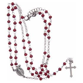 Rosario classico colore rosso argento 925 s5