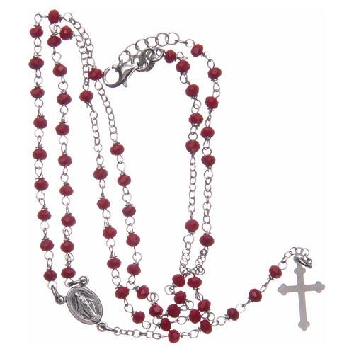 Rosario classico colore rosso argento 925 5
