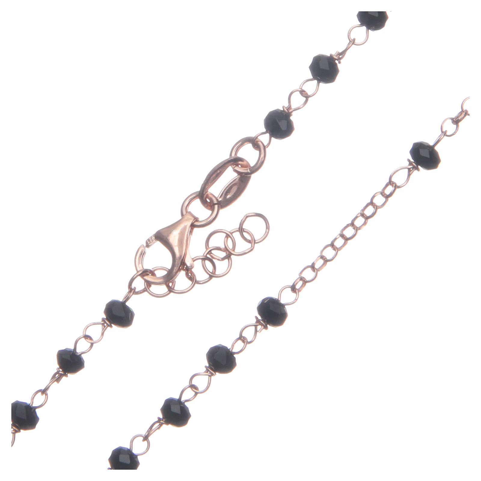 Rosario classico colore rosé nero argento 925 4