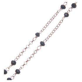 Rosario classico colore rosé nero argento 925 s3