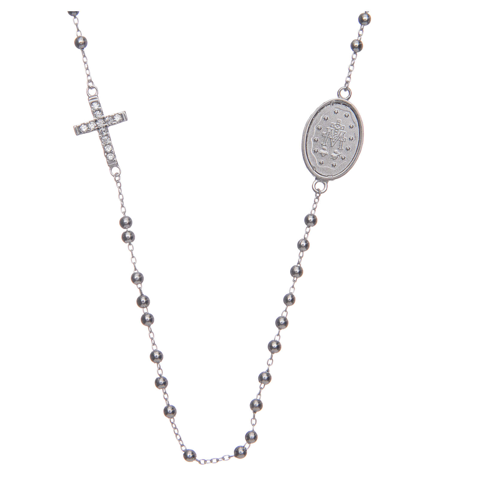 Rosario girocollo silver zirconi bianchi argento 925 4