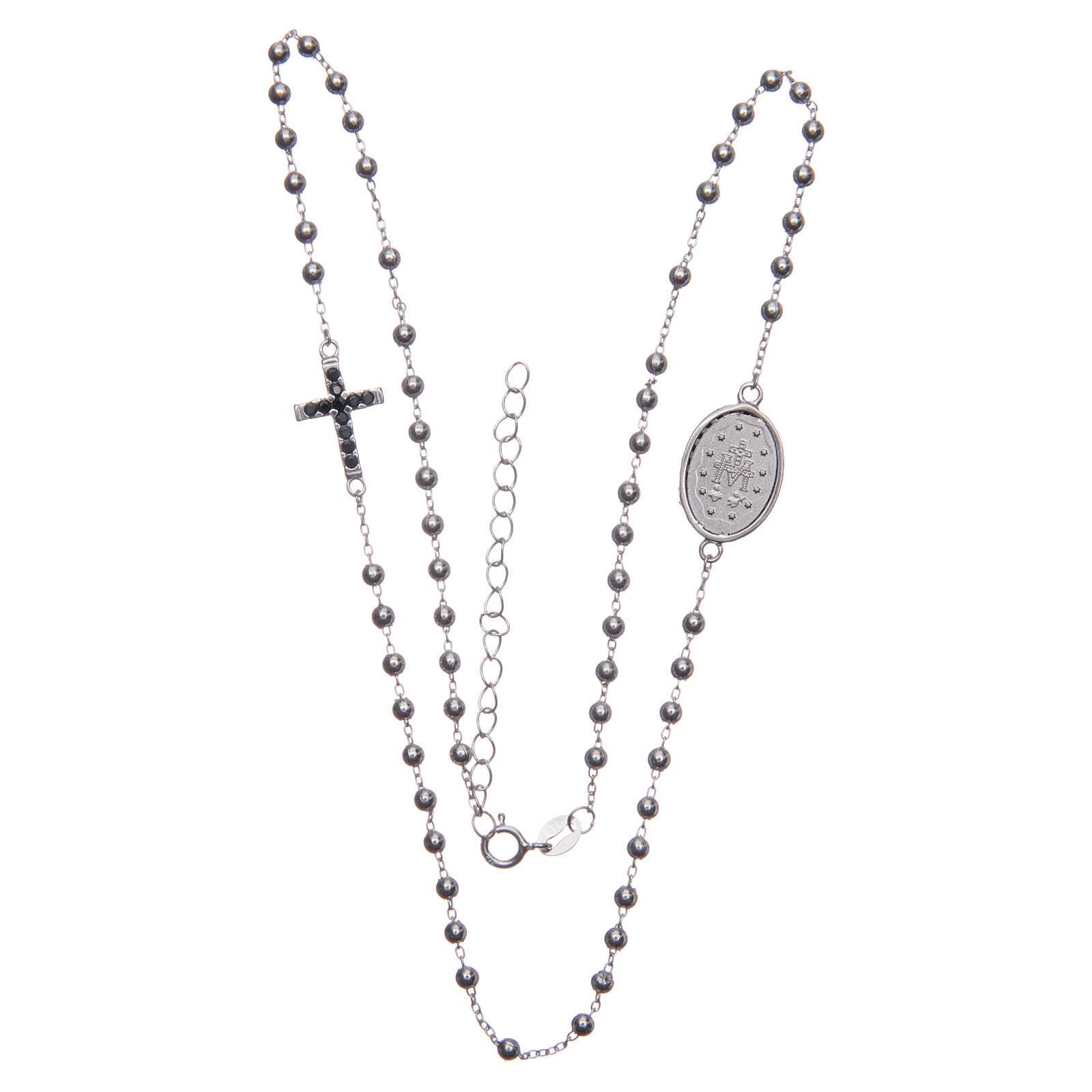 Rosario girocollo silver zirconi neri argento 925 4