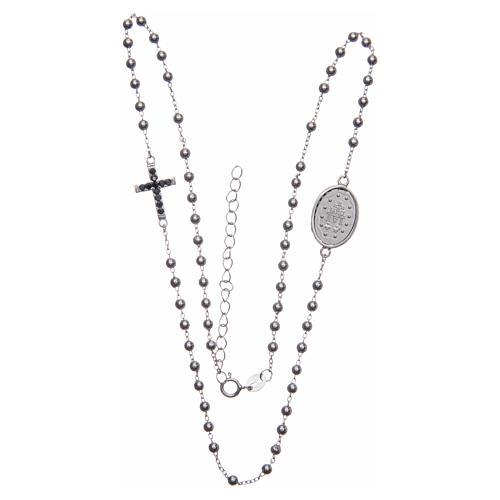 Rosario girocollo silver zirconi neri argento 925 3