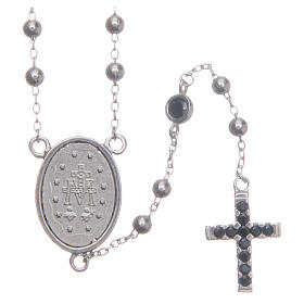 Classic rosary silver with black zircons in 925 sterling silver s2