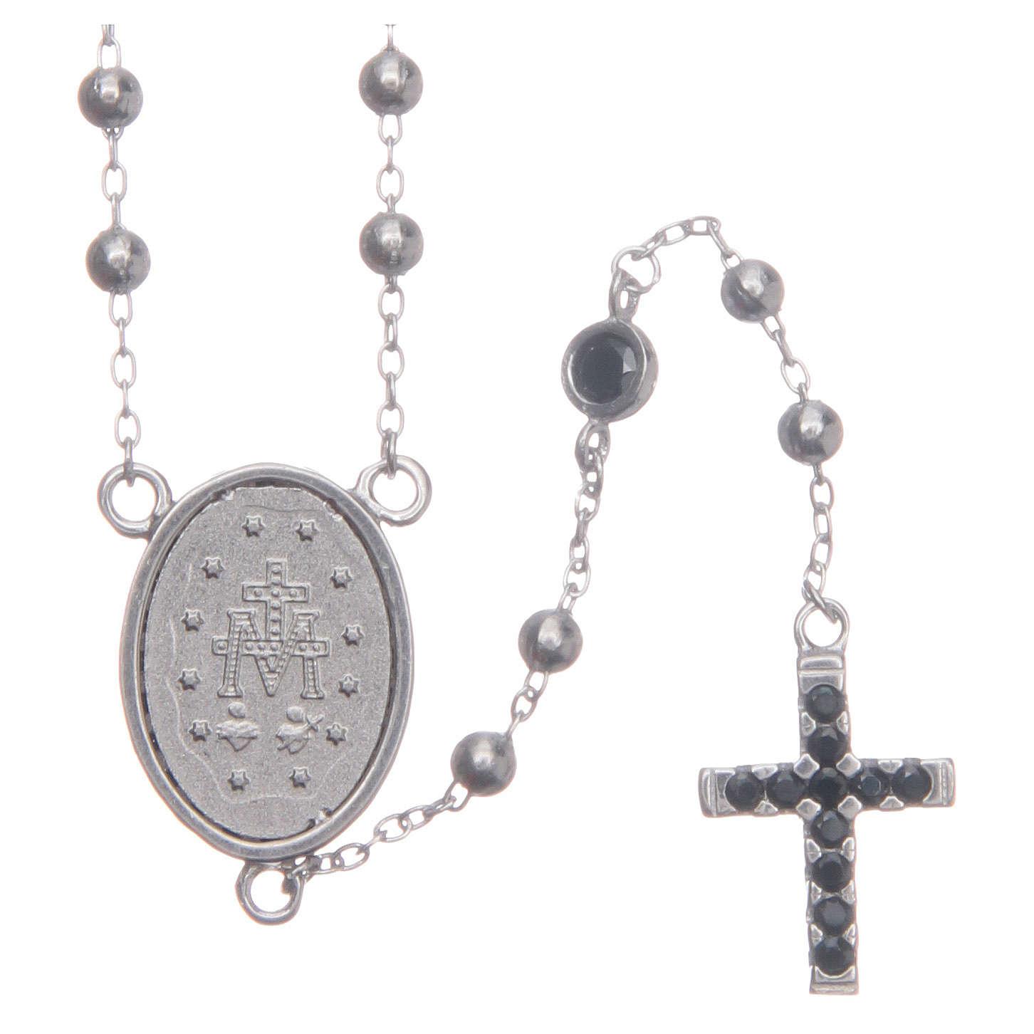 Rosario classico silver zirconi neri argento 925 4