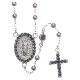Rosario classico silver zirconi neri argento 925 s1