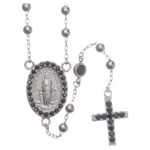 Rosario classico silver zirconi neri argento 925 1