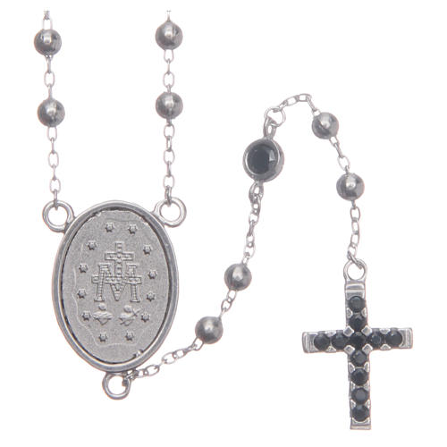 Rosario classico silver zirconi neri argento 925 2
