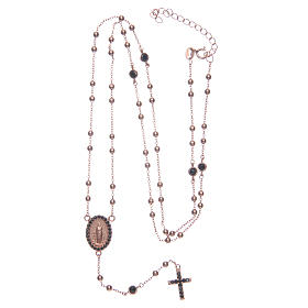 Classic rosary rosè with black zircons 925 sterling silver s5