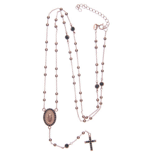 Classic rosary rosè with black zircons 925 sterling silver 5