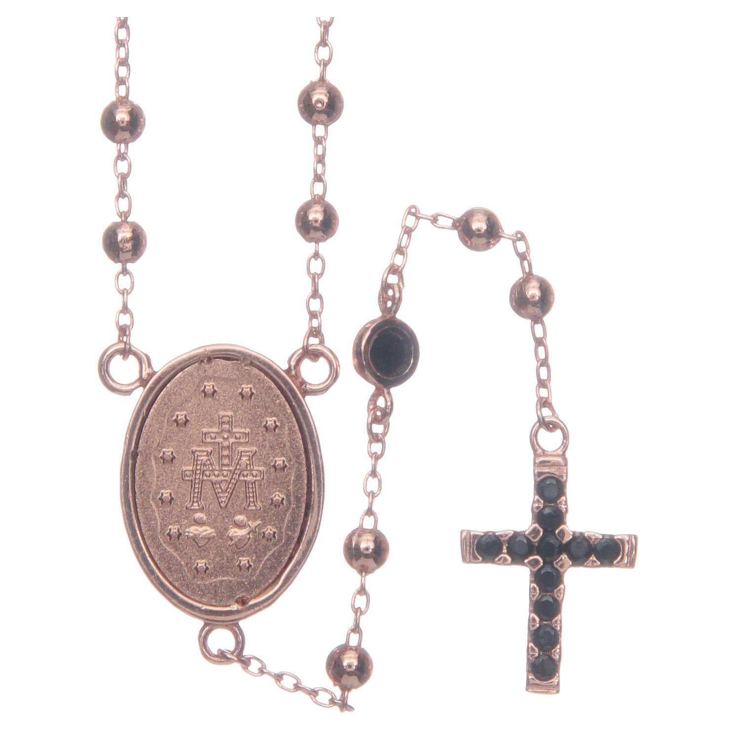 Rosario classico rosé zirconi neri argento 925 4