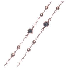 Rosario classico rosé zirconi neri argento 925 s3