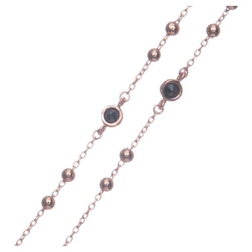 Rosario classico rosé zirconi neri argento 925 3