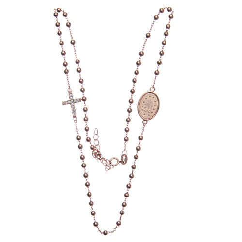 Rosary choker rosè with white zircons 925 sterling silver 3