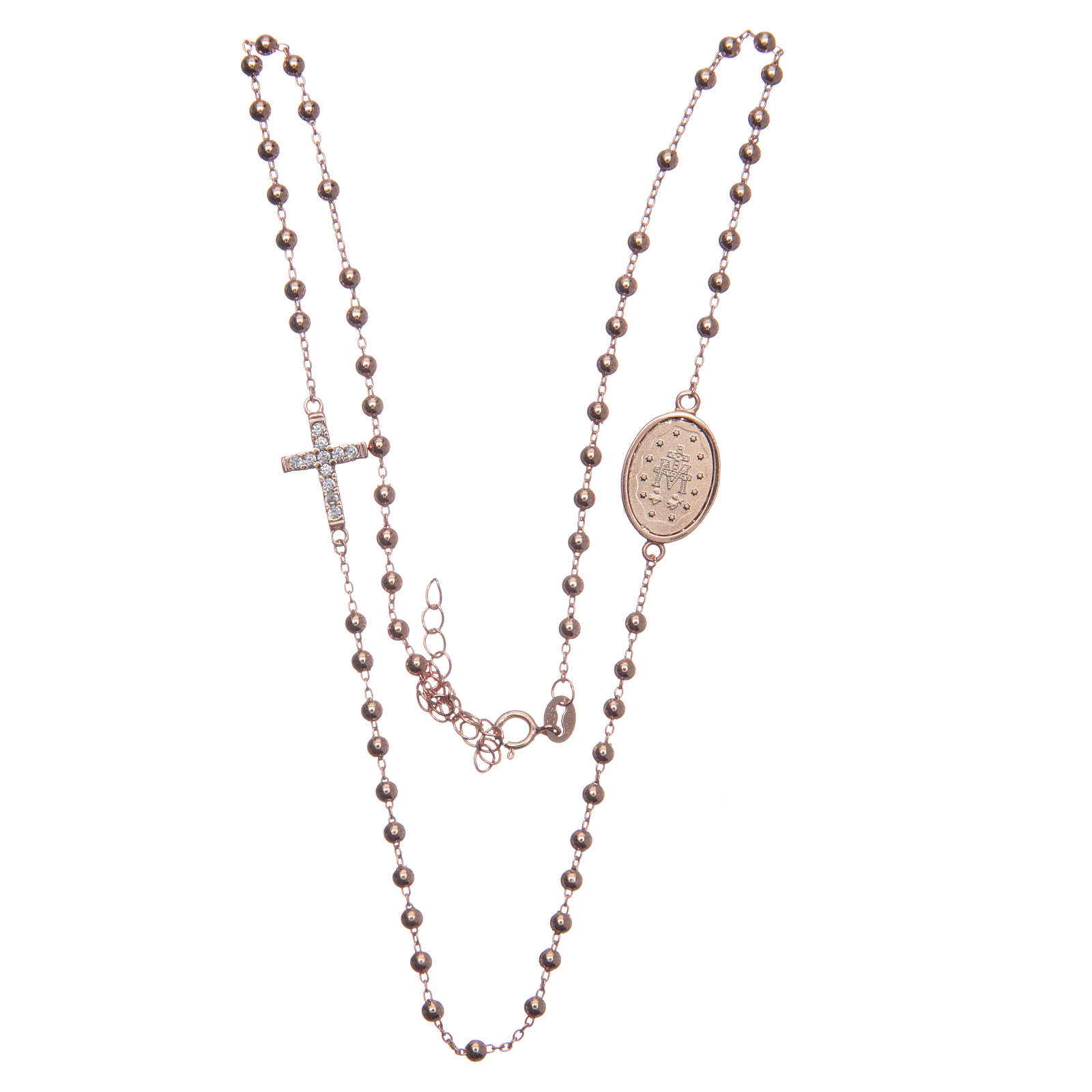 Rosario girocollo rosé zirconi bianchi argento 925 4