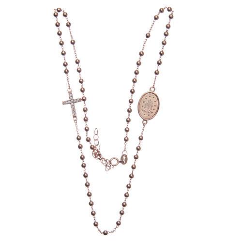 Rosario girocollo rosé zirconi bianchi argento 925 3