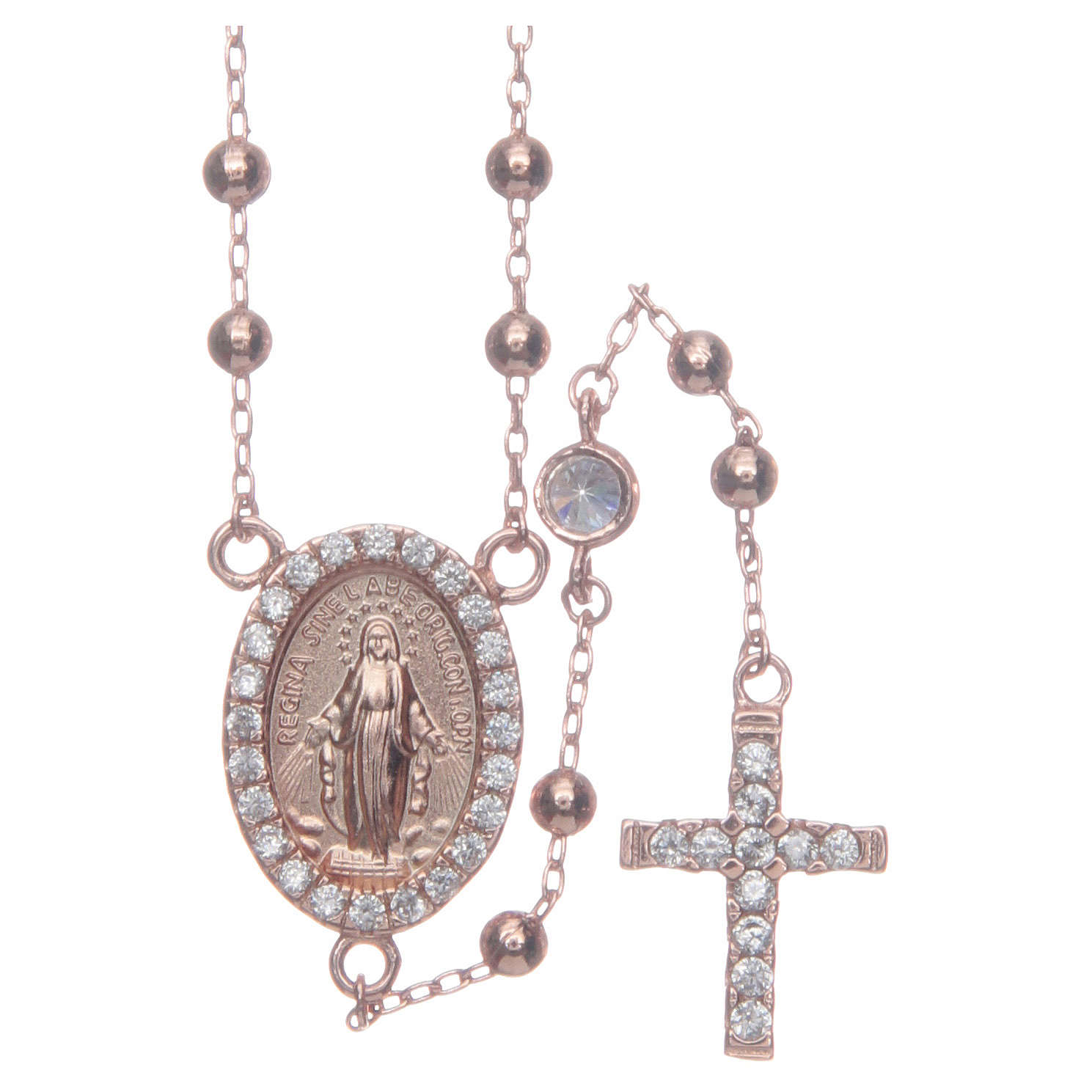 Classic rosary rosè with white zircons in 925 sterling silver 4