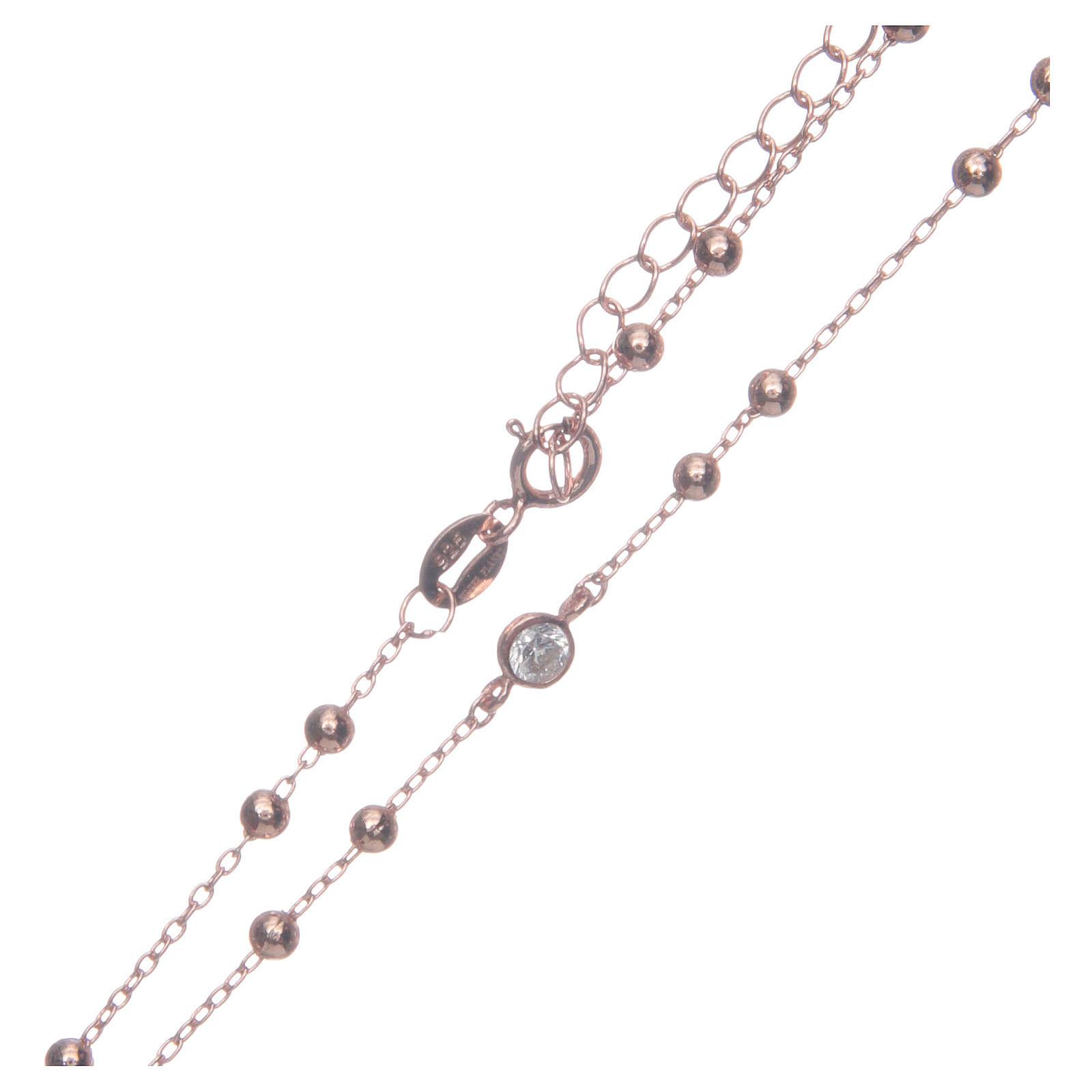 Rosario classico rosé zirconi bianchi argento 925 4