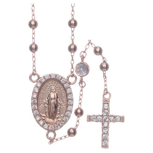 Rosario classico rosé zirconi bianchi argento 925 1