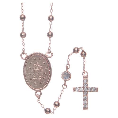 Rosario classico rosé zirconi bianchi argento 925 2