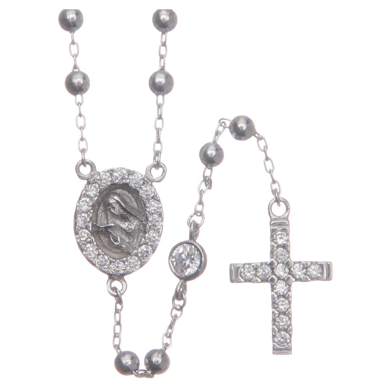 Rosario classico Santa Rita silver zirconi bianchi argento 925 4