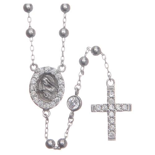 Rosario classico Santa Rita silver zirconi bianchi argento 925 1