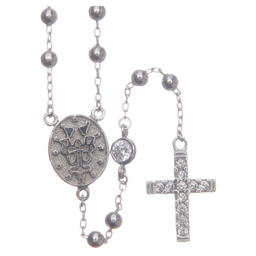 Rosario classico Santa Rita silver zirconi bianchi argento 925 2