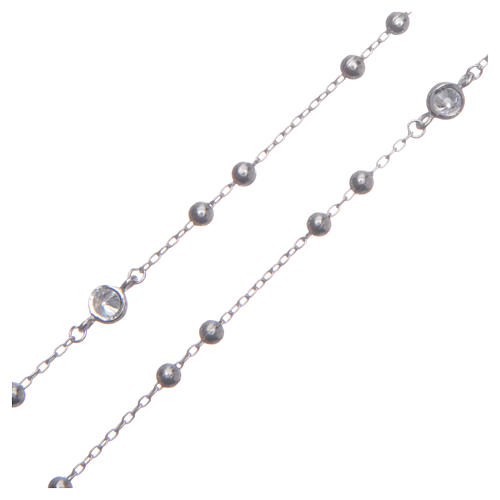 Rosario classico Santa Rita silver zirconi bianchi argento 925 3