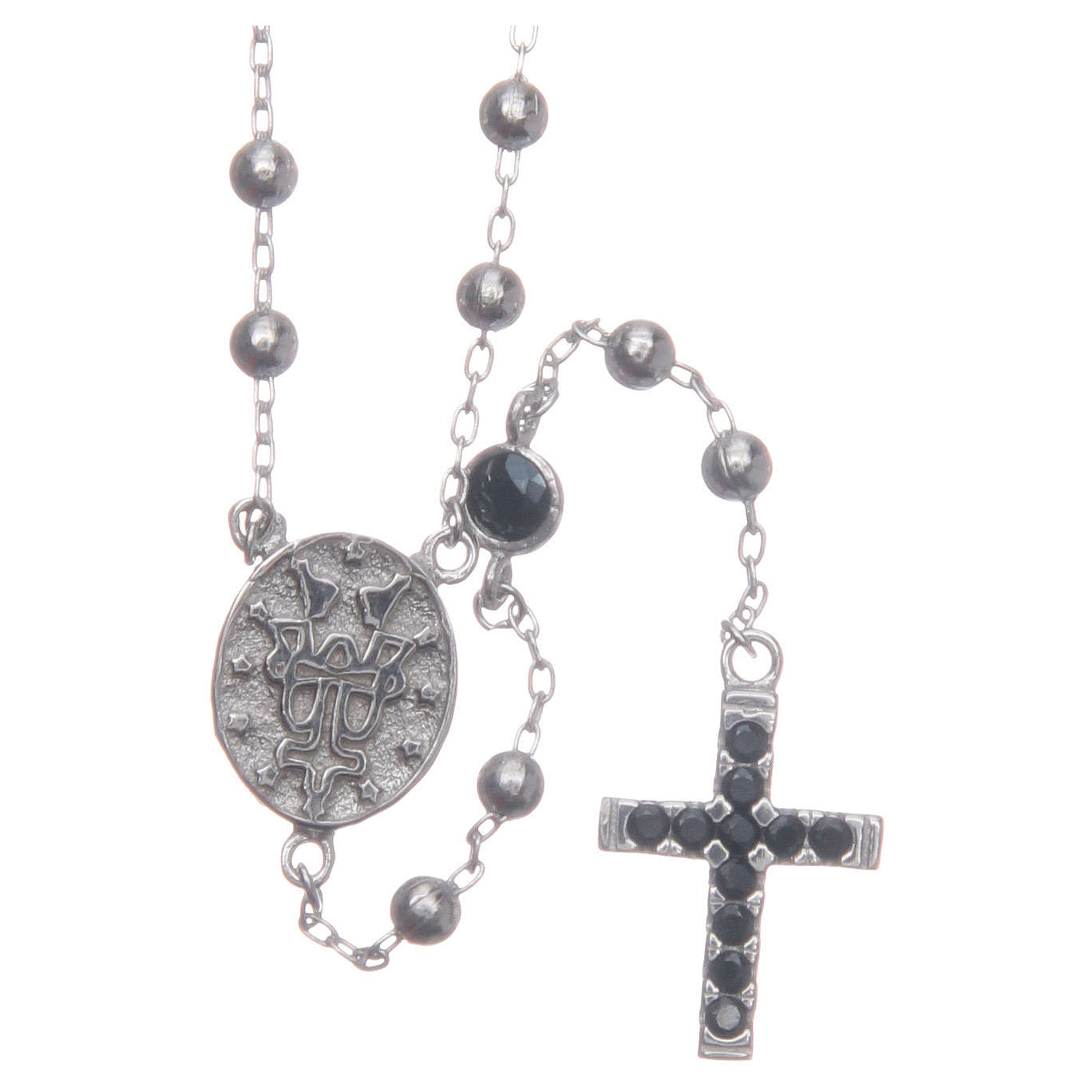 Rosary choker Saint Rita silver with black zircons in 925 sterling silver 4