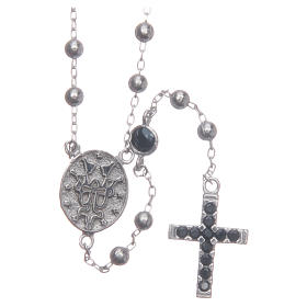 Rosary choker Saint Rita silver with black zircons in 925 sterling silver s2