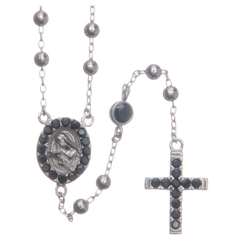 Rosary choker Saint Rita silver with black zircons in 925 sterling silver 1
