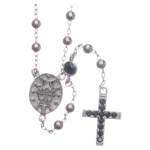 Rosary choker Saint Rita silver with black zircons in 925 sterling silver 2